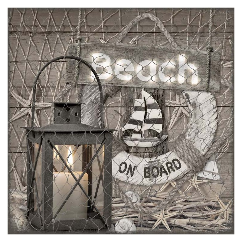 3D Canvas Beach Sign w/ LED Lantern