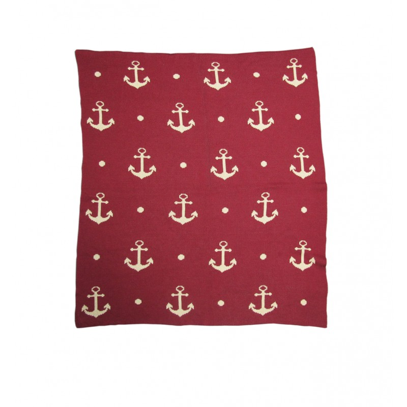 Red & White Nautical Anchor Throw Blanket