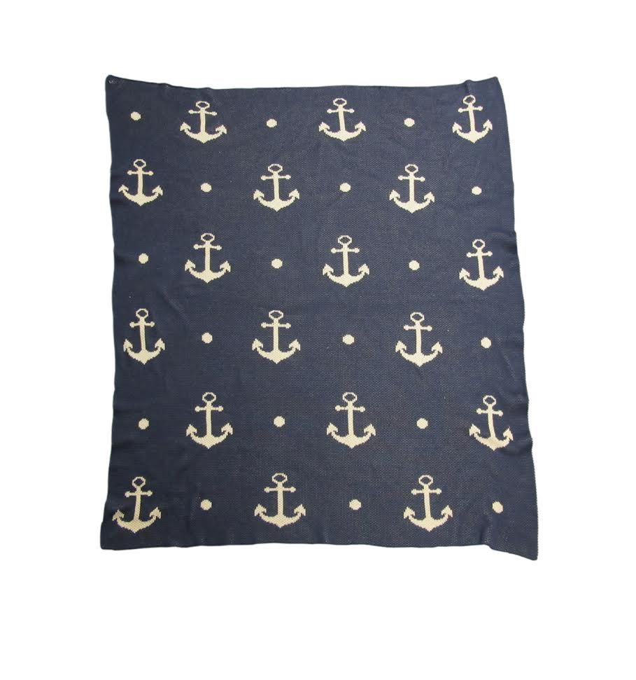 Blue & White Nautical Anchor Throw Blanket