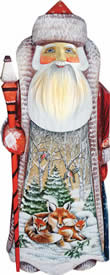 Artistic Wood Carved Santa Claus and Foxes Sculpture