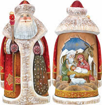 Artistic Wood Carved Santa Claus Nativity Sculpture