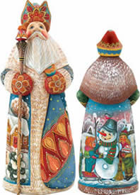 Artistic Wood Carved Santa Claus and Snowman Sculpture