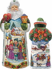 Artistic Wood Carved Holiday in Harmony Santa Claus Sculpture