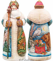 Artistic Wood Carved Peaceful Kingdom Santa Claus Sculpture