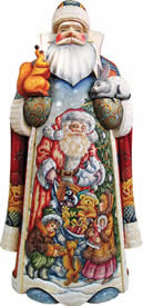 Artistic Wood Carved Santa Claus Sharing Joy Sculpture