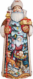 Artistic Wood Carved Santa Claus Holiday Delight Sculpture