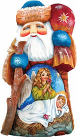 Artistic Wood Carved Wonderful Wish Santa Claus Nativity Sculpture