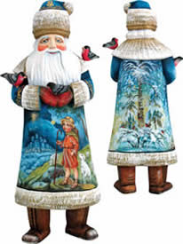 Artistic Wood Carved Santa Claus and Shepherd Boy Sculpture