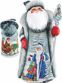 Artistic Wood Carved Time With Santa Claus Sculpture