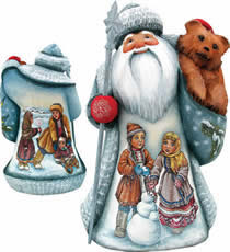 Artistic Wood Carved Santa Claus Frosty Friends Sculpture