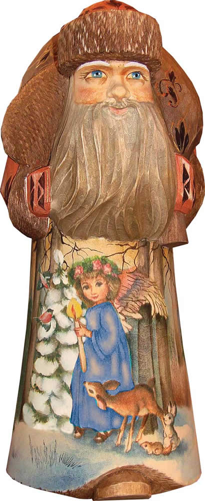 Artistic Wood Carved Santa Claus and Forest Maiden Sculpture