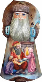 Artistic Wood Carved Storyteller Santa Claus Sculpture
