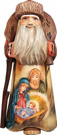 Artistic Wood Carved Nostalgic Nativity Santa Claus Sculpture