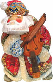 Musician Violin Santa Claus Artistic Wood Carved Sculpture