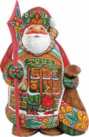 Artistic Wood Carved Little Wishes Santa Claus Sculpture