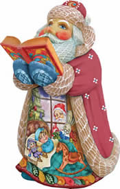 Artistic Wood Carved Christmas Night Santa Claus Sculpture