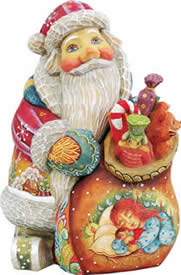 Artistic Wood Carved Santa Claus Christmas Night Sculpture