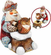 Saving Up for Winter Santa Claus w/ Owl Wood Carved Sculpture