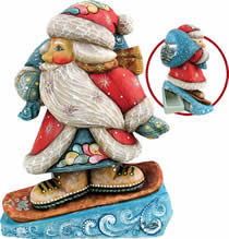 Artistic Wood Carved Downslope Santa Claus Sculpture