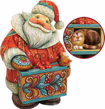 Artistic Wood Carved Santa Claus with Cat Sculpture