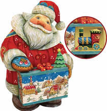 Artistic Wood Carved Santa Claus with Train Sculpture
