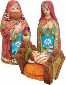 Artistic Wood Carved Blessed Family Nativity Sculpture