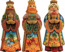 Set of Three Kings Artistic Wood Carved Sculpture