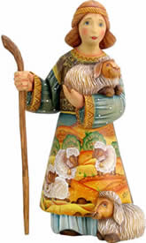 Artistic Wood Carved Shepherd Boy Nativity Sculpture