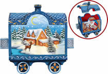 Artistic Wood Carved Train w/ Holiday Express Santa Claus Sculpture
