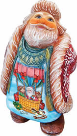 Artistic Wood Carved Santa Claus Balloon Ride Sculpture