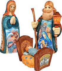 Holy Family Artistic Wood Carved Sculpture