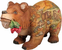 Bear Forest Friends Artistic Wood Carved Sculpture