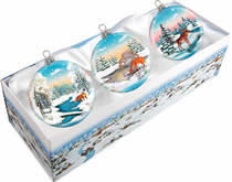 Set of Three Glass Winter Animals Christmas Ornaments w/ Gift Box