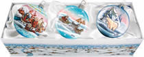 Set of Three Artistic Glass Arctic Christmas Ornaments w/ Gift Box