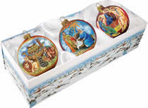 Set of Three Nativity Holy Family Christmas Ornaments w/ Gift Box