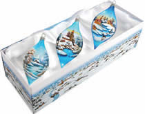 Set of Three Winter Scene Christmas Drops Ornaments w/ Gift Box