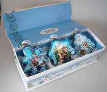 Set of Three Glass Blue Christmas Ornaments w/ Gift Box