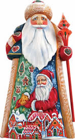 Artistic Wood Carved Santa Claus Candy Coated Sculpture