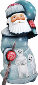 Artistic Wood Carved Santa Claus with Delightful Polar Bears Sculpture