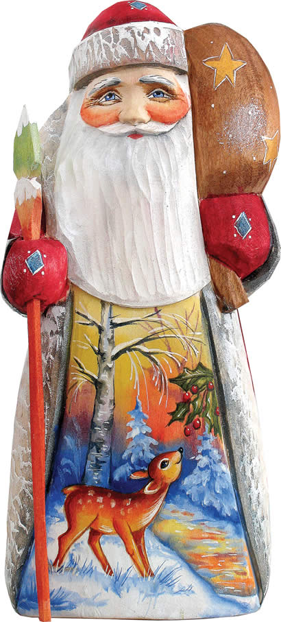 Artistic Wood Carved Santa Claus with Grazing Deer Sculpture