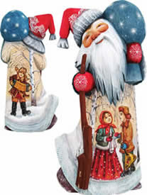 Artistic Wood Carved Santa Claus Winter Ballad Sculpture