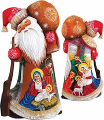 Artistic Wood Carved Nativity Santa Claus Sculpture