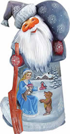 Artistic Wood Carved Santa Claus Winter Story Sculpture