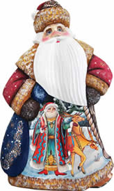 Artistic Wood Carved Courier Dancing Santa Claus Sculpture
