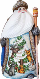 Artistic Wood Carved Forest Gathering Santa Claus Sculpture