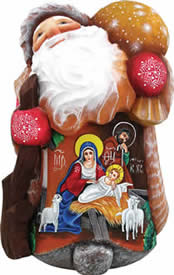 Artistic Wood Carved Santa Claus Joy To The World Nativity Sculpture