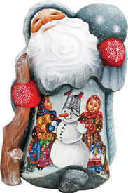 Artistic Wood Carved Santa Claus w/ Snowman Making a Friend Sculpture