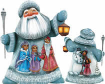 Artistic Wood Carved Santa Claus Childhood Friends Sculpture