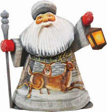 Artistic Wood Carved Playful Elks Santa Claus Sculpture