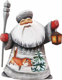 Artistic Wood Carved Foxy Play Santa Claus Sculpture